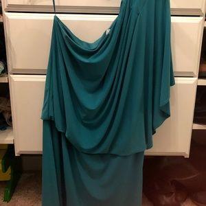 Sea Green One Shoulder Blouson Dress